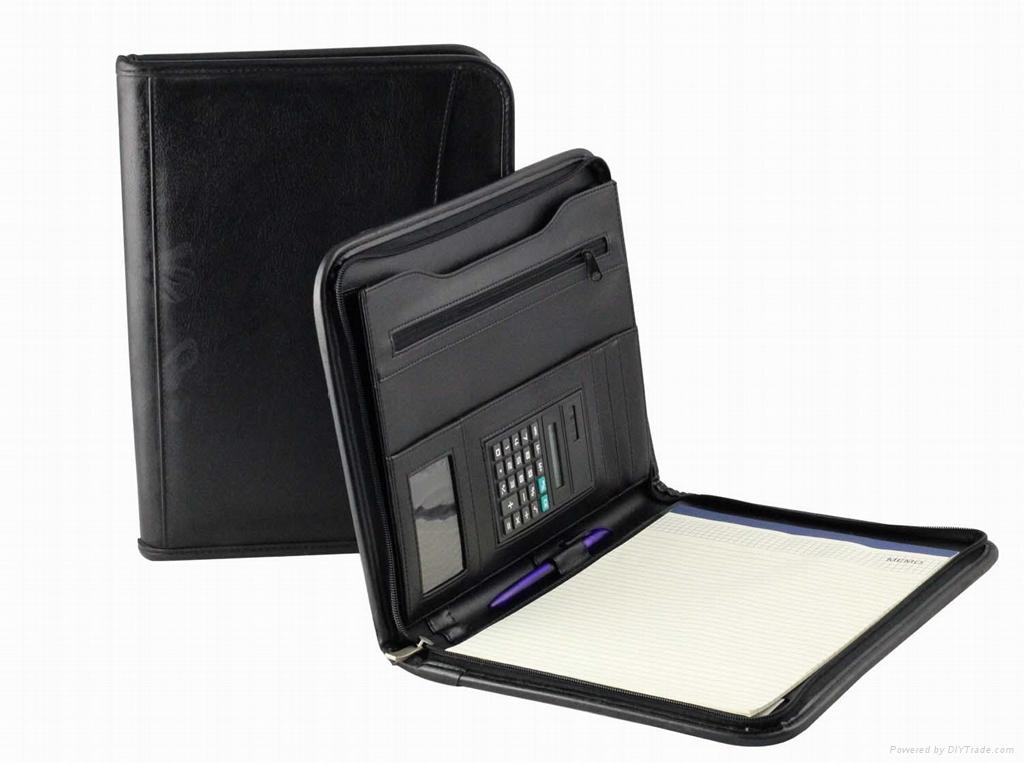 A4 zippered  leather portfolio 4