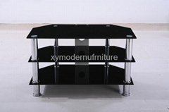 hot sell black modern design new style glass tv stand