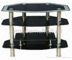 modern design black tempered glass tv stand
