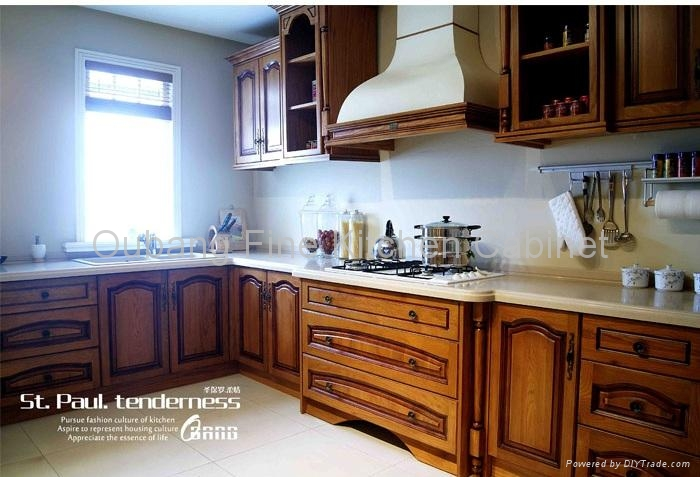 Solid wood kitchen cabinet high end furniture oc best for Best chinese kitchen cabinets