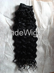 human hair machine weft