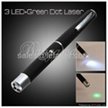 (2 in 1 Torch Lamp 3 LED Flashlight Light + 5mW Green Ray Beam Laser Pointer Pen
