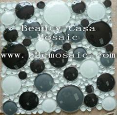 3 D cicle glass mosaic tile