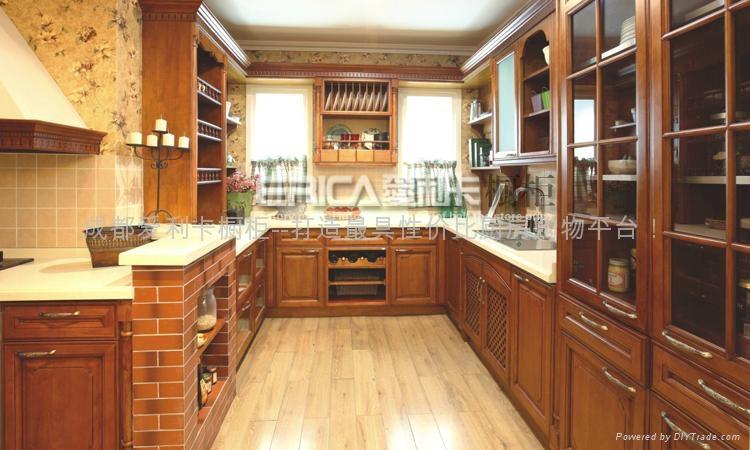 中式厨柜; 中式新古典田园风格简易实木整体橱柜套餐图片