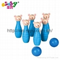 wooden bowling balls with bears 1