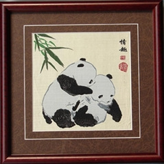 Two pandas play bamboo Brocade,Sichuan Silk Brocade gifts souvenirs