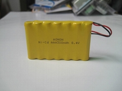 8.4V AAA 300mAh Ni-CD Rechargeable Battery Pack