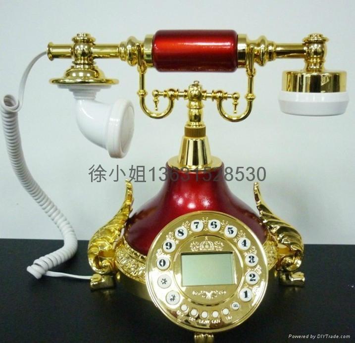 酒红仿古电话机批发 2