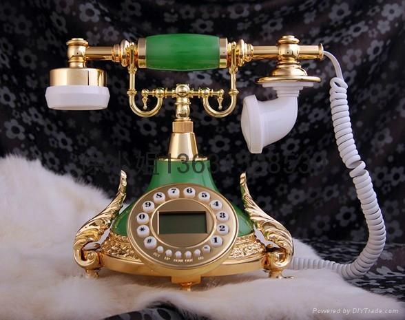 酒红仿古电话机批发 4