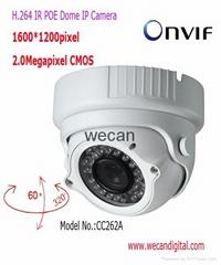 H.264 2Megapixel Infrared POE Dome IP Camera