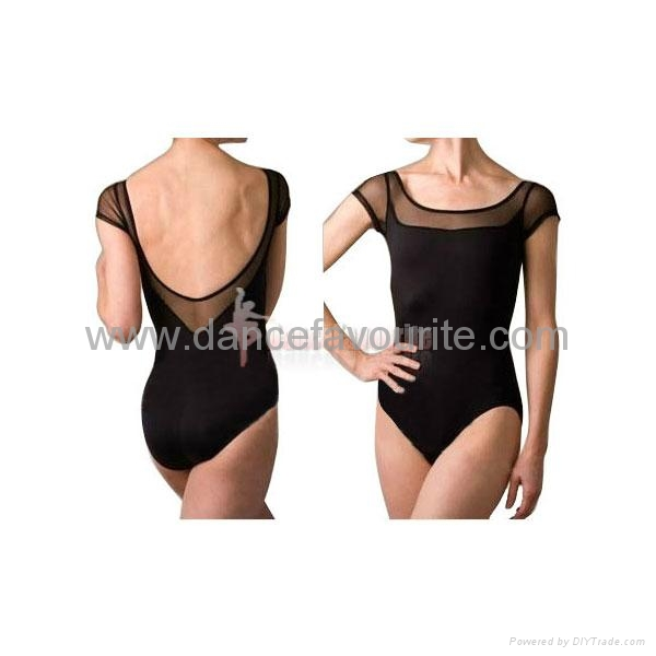 Cap short sleeve leotards with mesh