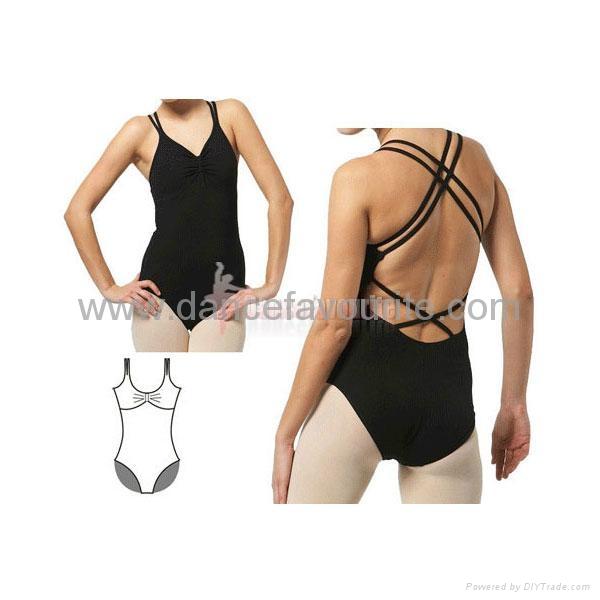 Double straps camisole low-back leotard