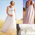Sleeveless Empire Wast A-line Beaded White Maternity Bridal Wedding Dress MN03