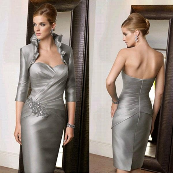 Strapless Silver Mother of the Bride Groom Dress with long sleeves ...