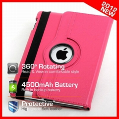 360 Degree Rotating iPad 3 Leather case with 4500mAh Battery