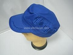 全棉绣花平顶帽子,时尚帽,太阳帽