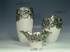 Pierced Silver Ceramic Flowerpots