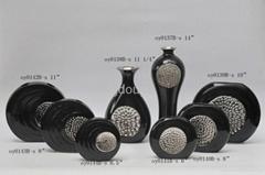 Modern black silver ceramic vases