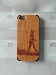 real wood + rubber case for iphone