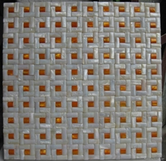 2011 Convex Natural Freshwater Shell Mosaic Tile