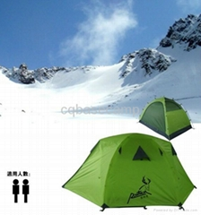 green polyester camping tent
