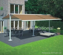 double sides retractable awning