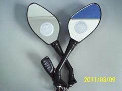 Motorcycle rearview mirrors with MP3 and FM function