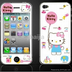 Fashion color printing cartoon screen protector for iphone4/iphone4s