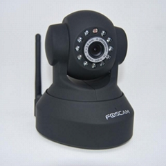 FOSCAM Black Dual Webcam CCTV WiFi Pan/Tilt IR Wireless IP Camera FI8918W
