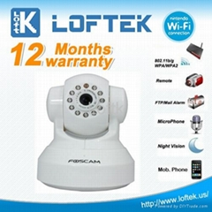 FOSCAM White Dual Webcam CCTV WiFi Pan/Tilt IR Wireless IP Camera FI8908W