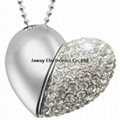 8GB Jewelry Crystal Silver Love Heart Shape USB Gift Flash Drive U Disk Storage
