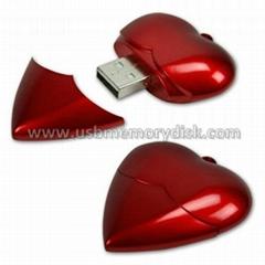 Plastic Heart Shape USB Memory Stick Pendrive