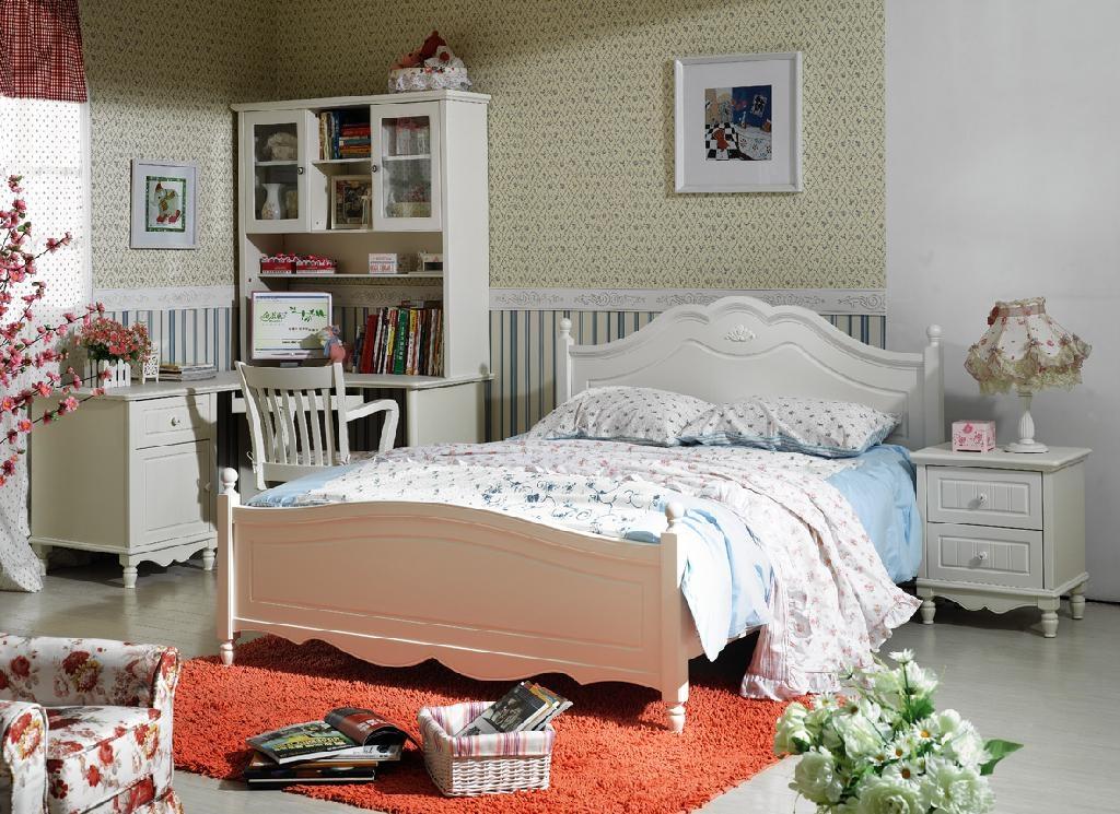 和购韩式白色田园家具系列hglx7188#双人床; 【和购韩式白色田园家具图片