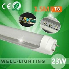 LED日光灯 T8 1.5M 24W 贴片2835SMD 车铝+磨砂罩或透明罩,AC85-265V