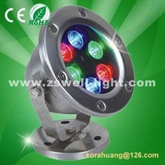 Outdoor 6w led underwater light,IP68,Red/Green/Blue/Yellow/Warmwhite/White/RGB