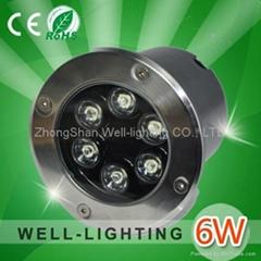 6W LED埋地灯,6*1W大功率,方形/圆形,单色/七彩 DC12V/12V,不锈钢外壳,防水IP65
