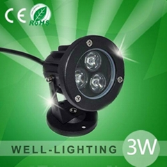 LED户外IP65小射灯,3W 5WLED插地灯 景观灯 屋檐灯,灰色黑色配插针