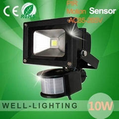10W LED Floodlight with PIR Motion Sensor, led light bulb with sensor,85V-265V