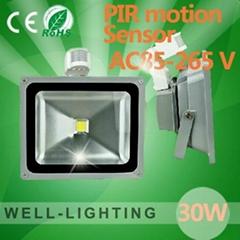 30W人體感應燈 LED投光燈 戶外燈 PIR智能遠紅外 AC85-265V IP65