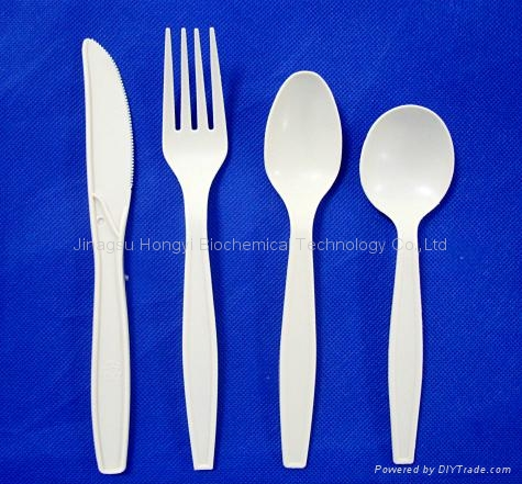 7''corn starch Biodegradable Tableware disposable cutlery 1