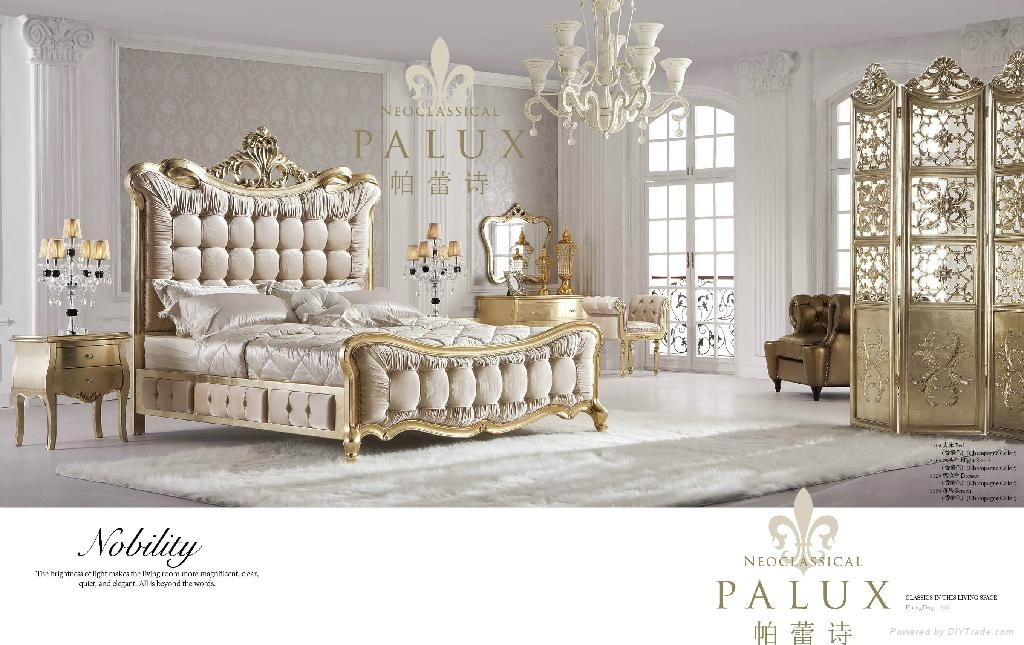 Neoclassic furniture antique solid wood bderoom set316 316 palux china manufacturer Set de chambre king noir