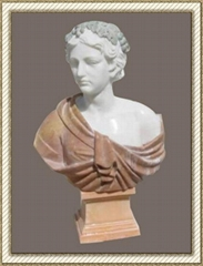 white marble bust statue