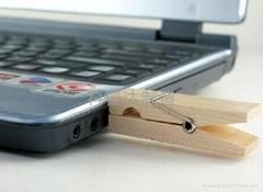 Wood clip usb