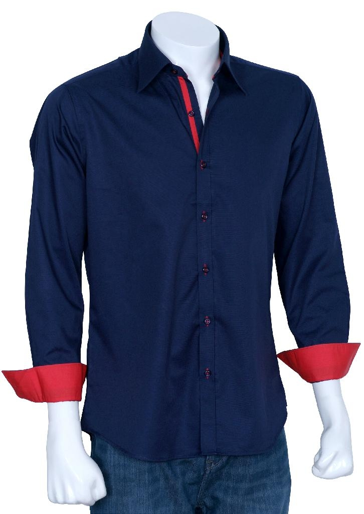 Xcite Navy Blue Designer Shirt With Red Innerts Fpw341