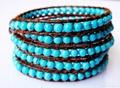 Turquoise Beads Leather Wrap Bracelets 1