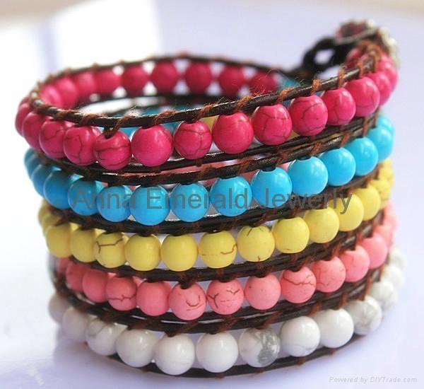 Turquoise Beads Leather Wrap Bracelets 2