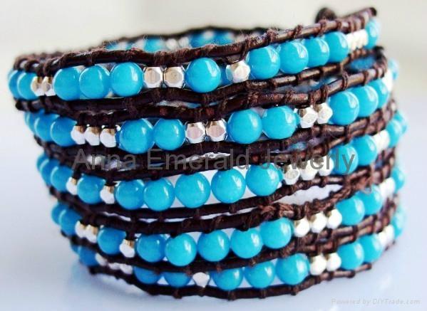 Turquoise Beads Leather Wrap Bracelets 4