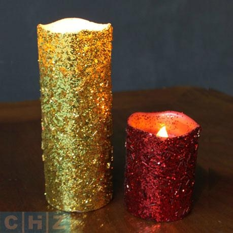 Glitter Wax Flameless LED Candle with 4 and 8hrs Timer with battery life up to 1 1