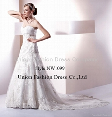 Popular & hottest Wedding gown in heavy beaded lace and satin from 2010 to now