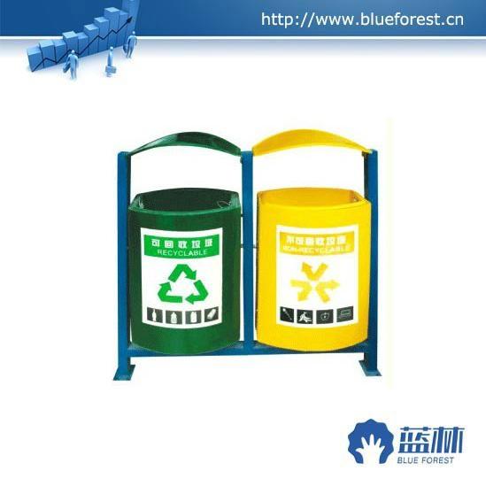 全手工制作环保玻璃钢加厚型双桶垃圾桶